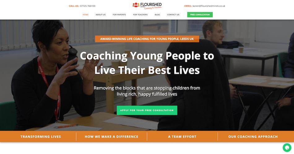 Flourished Minds Homepage Screenshot