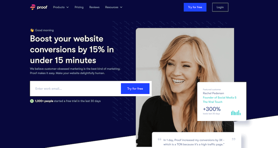 small business website - proof homepage